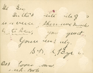 Autographs: MAJOR SAMUEL HAWKINS MARSHALL MARSH BYERS - AUTOGRAPH POEM SIGNED 3/1886