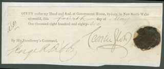 Autographs: BARON ROBERT WYNN CARRINGTON - DOCUMENT FRAGMENT SIGNED 05/04/1886