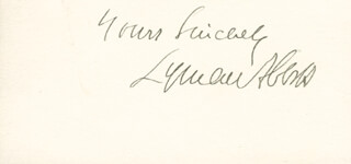 LYMAN ABBOTT - AUTOGRAPH SENTIMENT SIGNED