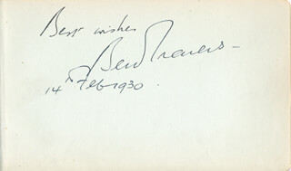 BEN TRAVERS - AUTOGRAPH SENTIMENT SIGNED 02/14/1930
