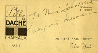 MARGARET SULLAVAN - INSCRIBED BUSINESS CARD SIGNED
