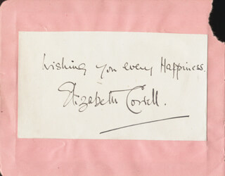 ELIZABETH COWELL - AUTOGRAPH SENTIMENT SIGNED CO-SIGNED BY: MARY ADAMS