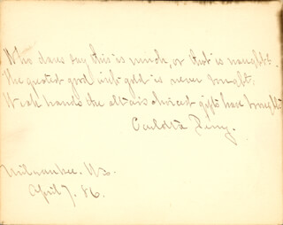 CARLOTTA PERRY - AUTOGRAPH QUOTATION SIGNED 04/07/1886