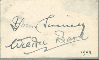 WILKIE BARD - AUTOGRAPH SENTIMENT SIGNED CIRCA 1944