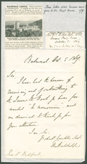 Autographs: SIR THOMAS MYDDELTON BIDDULPH - AUTOGRAPH LETTER SIGNED 10/05/1864