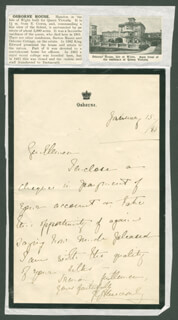 BARON GEORGE RALPH ABERCROMBY - AUTOGRAPH LETTER SIGNED 01/15/1885