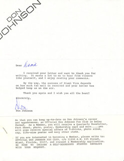 DON JOHNSON - PRINTED LETTER SIGNED IN INK