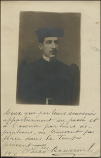 Autographs: ESTEVÃO LEÃO BOURROUL - AUTOGRAPH QUOTATION ON PICTURE POSTCARD SIGNED 01/14/1910