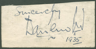 SIR DANIEL LLEUFER THOMAS - AUTOGRAPH SENTIMENT SIGNED 1935