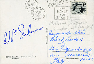 L. WILLIAM SEIDMAN - PICTURE POST CARD SIGNED CIRCA 1975