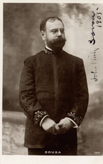 JOHN PHILIP THE MARCH KING SOUSA - PICTURE POST CARD SIGNED 1905