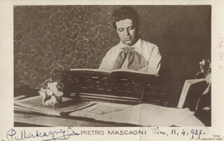 PIETRO MASCAGNI - PICTURE POST CARD SIGNED 04/11/1927