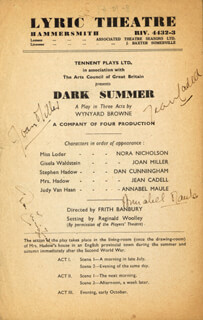 DARK SUMMER PLAY CAST - SHOW BILL SIGNED CIRCA 1947 CO-SIGNED BY: JOAN MILLER, DAN CUNNINGHAM, ANNABEL MAULE, JEAN CADELL