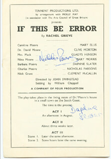 IF THIS BE ERROR PLAY CAST - SHOW BILL SIGNED CIRCA 1950 CO-SIGNED BY: DAPHNE SLATER, NICHOLAS PARSONS
