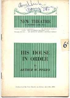 HIS HOUSE IN ORDER PLAY CAST - SHOW BILL SIGNED 07/06/1951 CO-SIGNED BY: MARY KERRIDGE, JEREMY SPENSER, GODFREY TEARLE