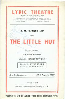 LITTLE HUT PLAY CAST, THE - SHOW BILL SIGNED CIRCA 1950 CO-SIGNED BY: SUSAN SHAW, GEOFFREY TOONE
