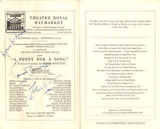 PENNY FOR A SONG PLAY CAST - SHOW BILL SIGNED CIRCA 1951 CO-SIGNED BY: VIRGINIA McKENNA, JOHN WHITING, RONALD HOWARD