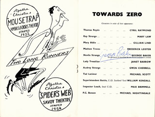 GEORGE BAKER - SHOW BILL SIGNED 09/04/1956