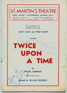 TWICE UPON A TIME PLAY CAST - SHOW BILL SIGNED 02/21/1949 CO-SIGNED BY: ROBERT BEATTY, RICHARD GREENE, CAROL MARSH, JOYCE HERON
