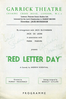 DONALD SINDEN - SHOW BILL SIGNED CO-SIGNED BY: ANDREW ROSENTHAL