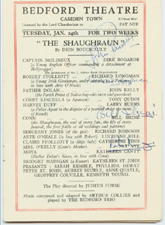 THE SHAUGHRAUN PLAY CAST - SHOW BILL SIGNED CIRCA 1950 CO-SIGNED BY: PAT NYE, RICHARD LONGMAN, BILL SHINE, JOHN PENROSE