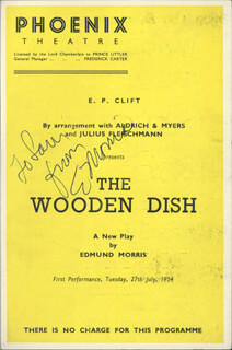 THE WOODEN DISH PLAY CAST - INSCRIBED SHOW BILL SIGNED CIRCA 1954 CO-SIGNED BY: JOAN MILLER, BESSIE LOVE, EDMUND MORRIS, DOROTHY BROMILEY