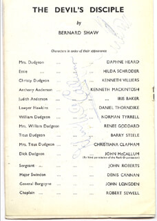 DEVIL'S DISCIPLE PLAY CAST - PROGRAM SIGNED CO-SIGNED BY: JOHN McCALLUM, NORMAN TYRRELL