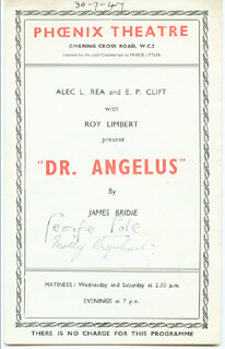 DR. ANGELUS PLAY CAST - SHOW BILL SIGNED CIRCA 1947 CO-SIGNED BY: GEORGE COLE, MOLLY URQUHART