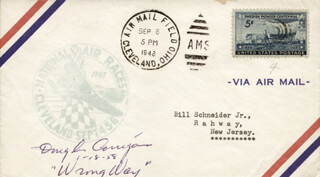 DOUGLAS WRONG WAY CORRIGAN - COMMEMORATIVE ENVELOPE SIGNED 01/18/1958