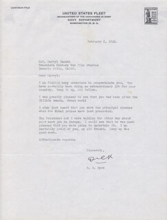 REAR ADMIRAL RICHARD E. BYRD - TYPED LETTER SIGNED 02/02/1945