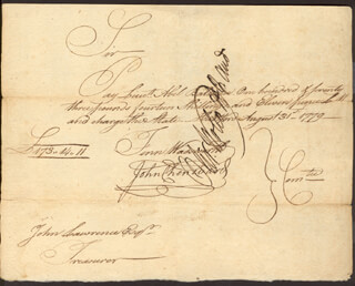 OLIVER WOLCOTT JR. - PROMISSORY NOTE SIGNED 08/31/1779 CO-SIGNED BY: FENN WADSWORTH, JOHN CHENWARD
