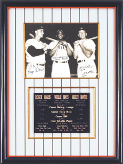 ROGER MARIS - AUTOGRAPHED SIGNED PHOTOGRAPH CO-SIGNED BY: MICKEY MANTLE, WILLIE SAY HEY KID MAYS