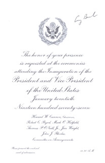 PRESIDENT GEORGE H.W. BUSH - INAUGURAL INVITATION SIGNED CIRCA 1977