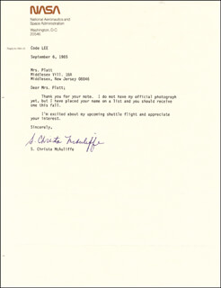 CHRISTA McAULIFFE - TYPED LETTER SIGNED 09/06/1985
