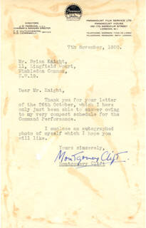 MONTGOMERY CLIFT - TYPED LETTER SIGNED 11/07/1950
