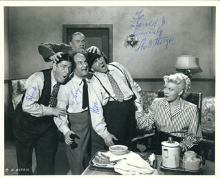 HOKUS POKUS MOVIE CAST - AUTOGRAPHED INSCRIBED PHOTOGRAPH CIRCA 1955 CO-SIGNED BY: THREE STOOGES (SHEMP HOWARD), THREE STOOGES (LARRY FINE), THREE STOOGES (MOE HOWARD), THE THREE STOOGES