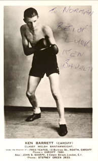 KEN BARRETT - INSCRIBED PRINTED PHOTOGRAPH SIGNED IN INK