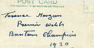 TERENCE TANCY MORGAN - PICTURE POST CARD SIGNED 1930