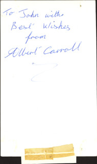 ALBERT CARROLL - AUTOGRAPHED INSCRIBED PHOTOGRAPH