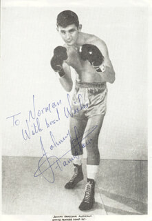 JOHNNY FAMECHON - INSCRIBED PRINTED PHOTOGRAPH SIGNED IN INK