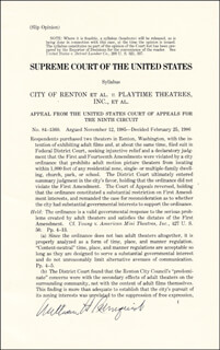 CHIEF JUSTICE WILLIAM H. REHNQUIST - PRINTED SYLLABUS SIGNED IN INK