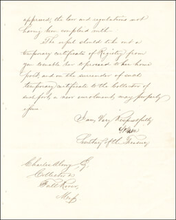 Autographs: CHIEF JUSTICE SALMON P. CHASE - MANUSCRIPT LETTER SIGNED 03/17/1862
