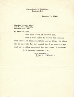 ASSOCIATE JUSTICE OWEN J. ROBERTS - TYPED LETTER SIGNED 12/03/1941