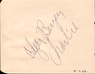 EDGAR BERGEN - AUTOGRAPH CO-SIGNED BY: CHARLIE McCARTHY, SIR CEDRIC HARDWICKE