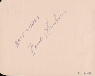 FRED SANBORN - AUTOGRAPH SENTIMENT SIGNED CIRCA 1948 CO-SIGNED BY: JANE BAXTER