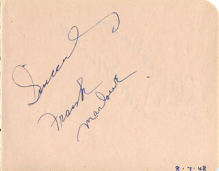 FRANK MARLOWE - AUTOGRAPH SENTIMENT SIGNED