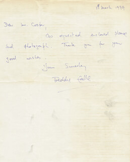 FREDDIE EARLLE - AUTOGRAPH LETTER SIGNED 03/01/1979