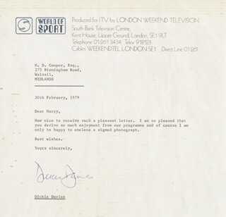 DICKIE DAVIES - TYPED LETTER SIGNED 02/20/1979