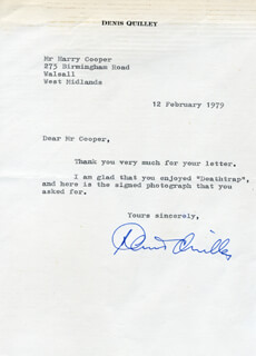 DENIS QUILLEY - TYPED LETTER SIGNED 02/12/1979
