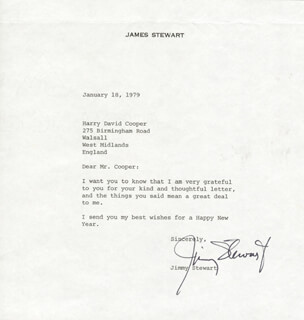 JAMES JIMMY STEWART - TYPED LETTER SIGNED 01/18/1979